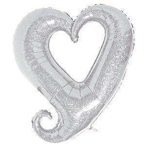 バルーン電報 結婚式 誕生日 大きなハートバルーン ホワイト 人気のバルーンギフト|bs-olive