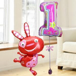 バルーン電報 誕生日 送料無料 1才  レッドバニーバースデーガールセット 人気のバルーンギフト|bs-olive