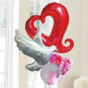 バルーン電報 結婚式 誕生日 送料無料 レッドハート&ハト&ドットハート 人気のバルーンギフト|bs-olive