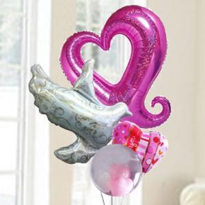 バルーン電報 結婚式 誕生日 送料無料 ピンクハート&ハト&ドットハート 人気のバルーンギフト|bs-olive
