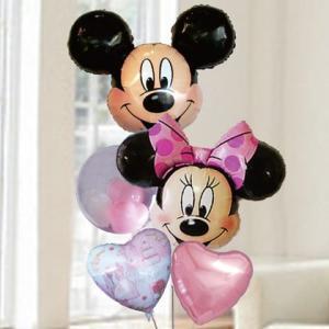 バルーン 電報 結婚式 ディズニー ミッキー&ミニーピンクバルーン 人気の浮くバルーンギフト|bs-olive