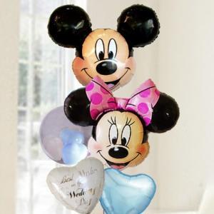 バルーン電報  結婚式 ディズニー ミッキー&ミニーブルーバルーン 人気のバルーンギフト|bs-olive