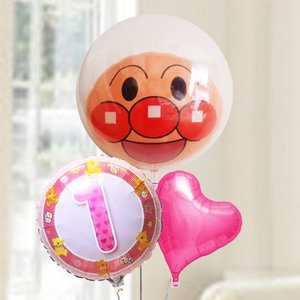 バルーン電報 送料無料 1才 誕生日  ファーストバースデー アンパンマン&ピンク 人気のバルーンギフト|bs-olive