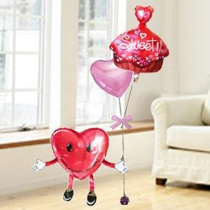 バルーン 電報 結婚式 送料無料 ハート君とスウィートカップケーキ&ピンクハート 人気バルーンギフト|bs-olive