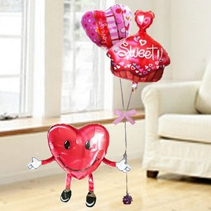 バルーン電報 結婚式 誕生日 送料無料  ハート君とスウィート&LoveYouハート 人気バルーンギフト|bs-olive