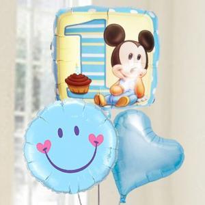 バルーン電報  送料無料 1才 誕生日  ファーストバースデー ミッキー&スマイルブルー 人気のバルーンギフト|bs-olive