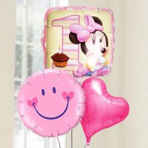 バルーン電報 送料無料 1才 誕生日 ファーストバースデー ミニー&スマイルピンク 人気のバルーンギフト|bs-olive