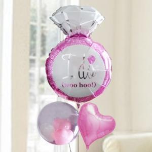 バルーン電報 結婚式 送料無料 ピンクリングバルーン&ピンクハート&Tバルーン 人気のバルーンギフト|bs-olive