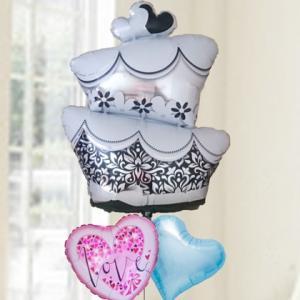バルーン 電報 結婚式 送料無料 ウエディングケーキ&ブルーハート&LOVE|bs-olive