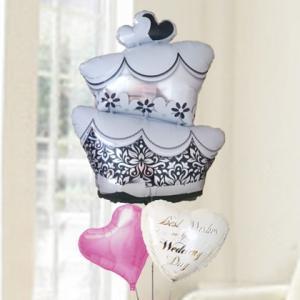バルーン電報 結婚式 送料無料 ウエディングケーキ&ピンクハート&ウエディングバルーン 人気のバルーンギフト|bs-olive