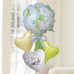 バルーン電報 結婚式 送料無料 ウエディングブーケ&ハートバルーン&ダブズバルーン 人気のバルーンギフト|bs-olive