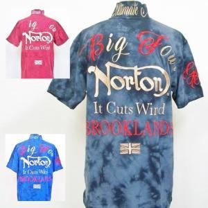 ノートン Nortonムラ染めポロシャツ 202N1209 アメカジ バイカー クールビズ タイダイ|bscrawler