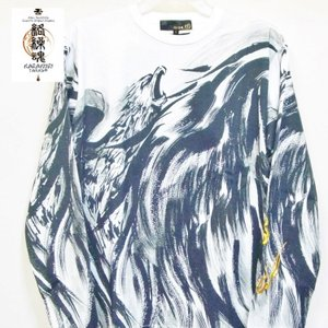 絡繰魂 からくりだましい×中塚 墨絵ロンT 長袖Tシャツ 211825 不死鳥 和柄|bscrawler