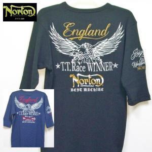 ノートン Nortonサーマルヘンリーネック6分袖Tシャツ 211N1104 アメカジ バイカー ロッカーズ ワッフル|bscrawler