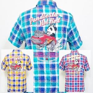 パンディエスタ 半袖マドラスチェックシャツ 529212 HOT ROD パンダ アメカジ バイカー キャラクター bscrawler