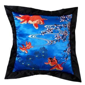 花旅楽団 はなたびがくだんスクリプト 桜と金魚刺繍クッション ESC-003 50cm×50cm 和柄 ギフト プレゼント bscrawler
