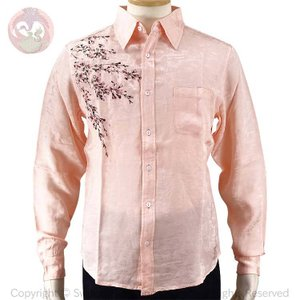 花旅楽団 桜刺繍レーヨンジャガード長袖シャツ LS-003 和柄 はなたびがくだん スクリプト|bscrawler