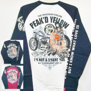 ピークドイエロー Peak'd Yellow 長袖T ロンT PYLT-199 バイク姉御 和柄 バイカー ロック お姉ちゃん 女の子|bscrawler