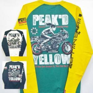 ピークドイエロー Peak'd Yellow 長袖T ロンT PYLT-223 BIKE 和柄 アメカジ ロック お姉ちゃん 女の子 カフェレーサー|bscrawler