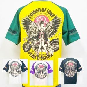 ピークドイエロー PEAK'D YELLOW半袖Tシャツ PYT-215 バイク アメカジ バイカー ロック お姉ちゃん 和柄/大きいサイズXXL 3L|bscrawler