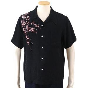 花旅楽団 桜刺繍ジャガード半袖開襟アロハシャツ SS-001/和柄 クールビズ はなたびがくだん・スクリプト bscrawler
