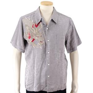 花旅楽団 龍刺繍ジャガード半袖開襟アロハシャツ SS-003/和柄 クールビズ はなたびがくだん・スクリプト bscrawler