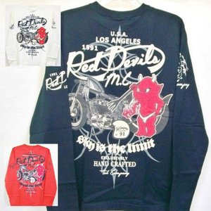 テッドマン TEDMAN ロンT 長袖Tシャツ TDLS-306 RED DEVIL M.C アメカジ バイカー|bscrawler