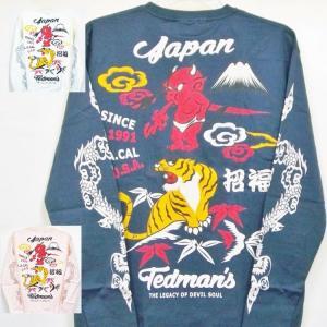 テッドマン TEDMAN ロンT 長袖Tシャツ TDLS-322 鬼VS虎 アメカジ バイカー 和柄|bscrawler