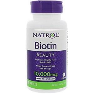 【送料無料】 Natrol ビオチン 10000mcg マキシマムストレングス 100粒 サプリメント