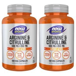 【2個セット】 Now Foods L-アルギニン&L-シトルリン 120粒