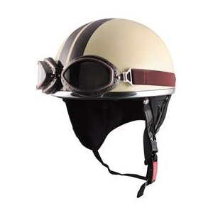 "【436】TNK ""SPEEDPIT"" ヴィンテージヘルメット CL-950 VINTAGE (ゴーグル付き)/アイボリー/ブラウン|bsm"