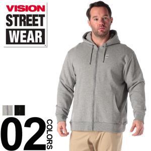 パーカー 大きいサイズ メンズ サカゼン 綿100% 胸ロゴ フルジップ VISION
