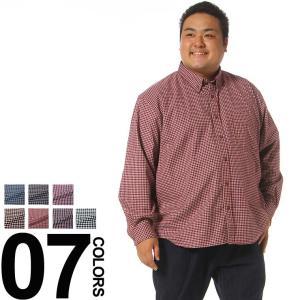 大きいサイズ メンズ カジュアルシャツ 長袖 3L 4L 5L 6L 7L 8L 相当 FIRST DOWN ファーストダウン チェック総柄 ポケット付き