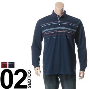 大きいサイズ メンズ ポロシャツ 長袖 3L 4L 5L KANGOL カンゴール 裏起毛 パネルボーダー 胸ロゴ刺繍 ポケット付き
