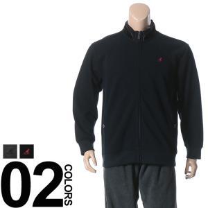 大きいサイズ メンズ ジャケット 3L 4L 5L KANGOL カンゴール 裏シャギー起毛 胸ロゴ刺繍 重ね襟 ライン入り フルジップ