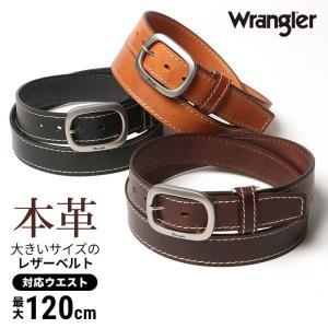 大きいサイズ メンズ ベルト 115cm Wrangler ラングラー 日本製 牛革 サイドステッチ ピンバックル
