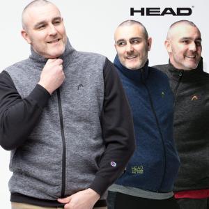 ベスト フリース 大きいサイズ メンズ カチオン スタンド フルジップ ベスト ジレ 防寒 起毛 アウトドア 3L 4L 5L 6L HEAD ヘッド|大きいサイズのサカゼン