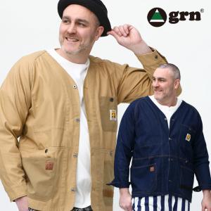 ジャケット 大きいサイズ メンズ Vネック フルボタン カバーオール コットン ノーカラー grn ジーアールエヌ|大きいサイズのサカゼン