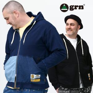 パーカー 大きいサイズ メンズ 異素材ポケット フルジップ 長袖 コットン スウェット 裏毛 grn ジーアールエヌ|大きいサイズのサカゼン