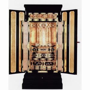 仏壇地袋付仏間用京型「聖18×43号」彫欄間蒔絵入(西)18号金仏壇(仏具別)