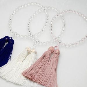 数珠 水晶8ミリ玉 共仕立正絹頭房(白色・紫色・灰桜) 送料無料各宗派女性用念珠 紐切れ1年保証 本水晶 btdn
