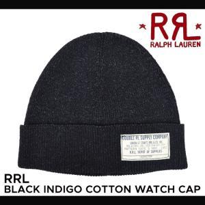 RRL by Ralph Lauren ラルフローレン ダブルアールエル Black Indigo Cotton Watch Cap ニット帽 ビーニー ニットキャップ|buddy-stl