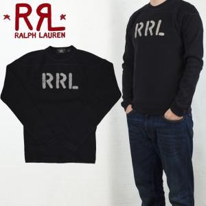 RRL by Ralph Lauren ラルフローレン ダブルアールエル Indigo-Dyed Football T-Shirt ロゴ ロンT 長袖 フットボールTシャツ|buddy-stl