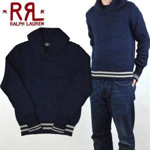 RRL by Ralph Lauren ラルフローレン ダブルアールエル Indigo-Dyed Shawl Collar Pullover ショールカラー セーター ニット|buddy-stl