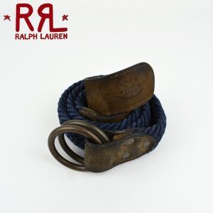 RRL by Ralph Lauren ラルフローレン ダブルアールエル Cotton Providence Belt コットン×レザー リングベルト|buddy-stl