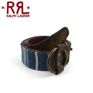 RRL by Ralph Lauren ラルフローレン ダブルアールエル Striped Cotton & Leather Belt コットン×レザー ベルト|buddy-stl