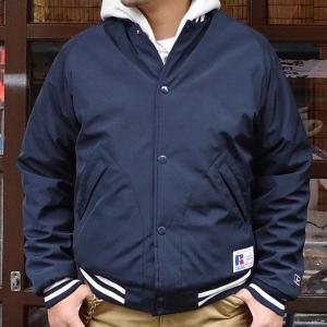 RUSSELL ATHLETIC ベースボール スタジアムジャケット・ネイビー アメカジ ナイロンスタジャン サテンブルゾン RC-16FW032AM|buddy-us-clothing