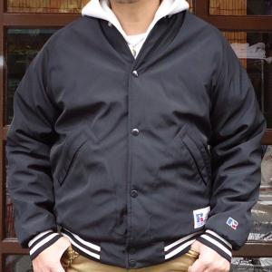 RUSSELL ATHLETIC ベースボール スタジアムジャケット・ブラック アメカジ ナイロンスタジャン サテンブルゾン RC-16FW032AM|buddy-us-clothing