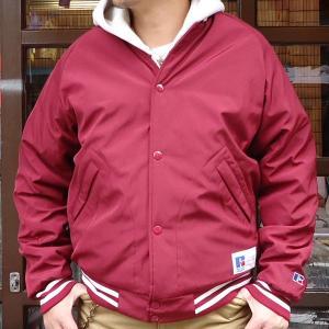 RUSSELL ATHLETIC ベースボール スタジアムジャケット・マルーン アメカジ ナイロンスタジャン サテンブルゾン  RC-16FW032AM|buddy-us-clothing