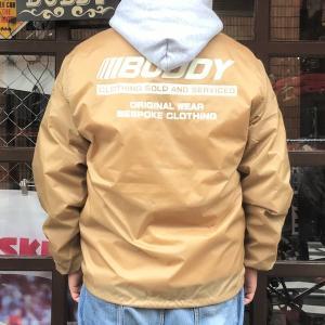 コーチジャケット 裏ボア付き カーキ BUDDY オリジナル ウィンドブレーカー ベージュ KHAKI ナイロンジャケット 防寒 メンズ レディース アウター|buddy-us-clothing